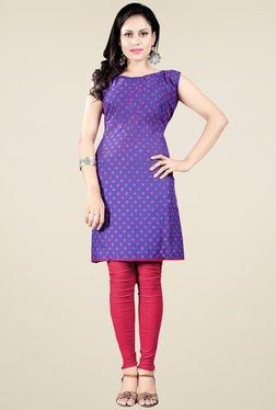Ethnic Basket Purple Sleeveless Cotton Kurti
