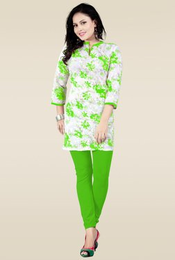 Ethnic Basket Green Floral Cotton Printed Kurti