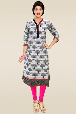 Ethnic Basket White Cotton Printed Kurti