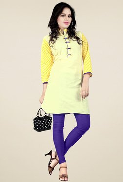 Ethnic Basket Yellow Cotton Printed Kurti