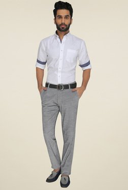 JadeBlue Light Grey Slim Fit Flat Front Trousers