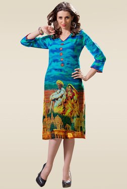 Ethnic Basket Blue Digital Printed Kurti
