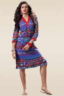 Ethnic Basket Blue Aztec Printed Kurti