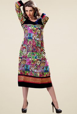 Ethnic Basket Multicolor Regular Fit Digital Printed Kurti