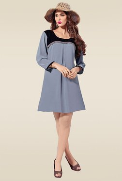 Ethnic Basket Grey 3/4th Sleeves Regular Fit Kurti