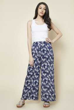 Zudio Navy Palm Tree Print Palazzos