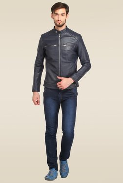 Histeria Navy Zip Front Leather Jacket