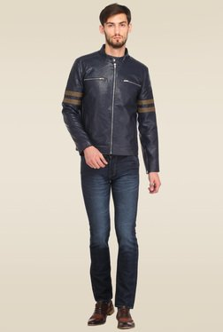 Histeria Navy Leather Full Sleeves Jacket