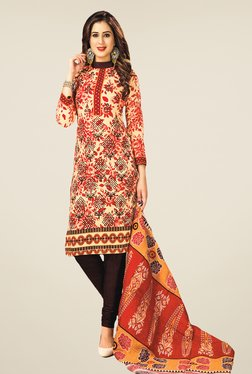 Salwar Studio Red & Brown Floral Print Dress Material