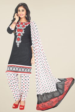 Salwar Studio Black & White Printed Unstitched Patiala Suit