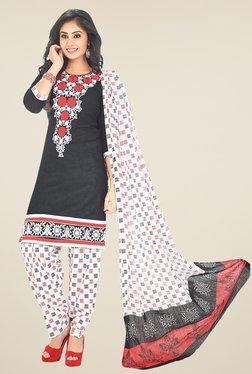 Salwar Studio Black & White Printed Unstitched Patiala Suit