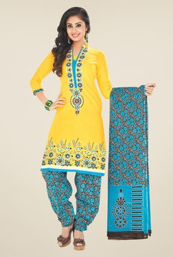 Salwar Studio Yellow & Blue Unstitched Patiala Suit