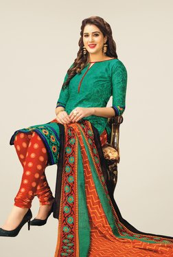 Salwar Studio Green & Orange Floral Print Dress Material