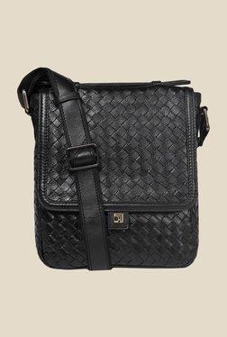 Da Milano Black Mat Leather Sling Bag