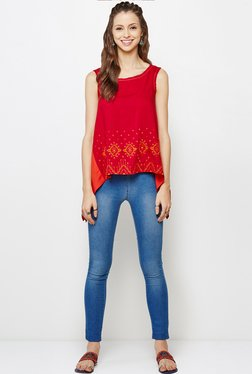Global Desi Red Embroidered Tunic