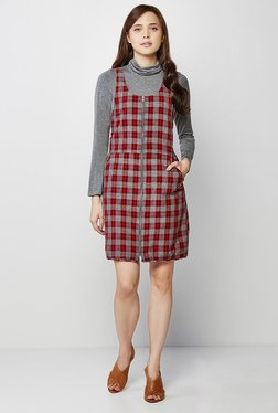 AND Grey & Red Checks Dress