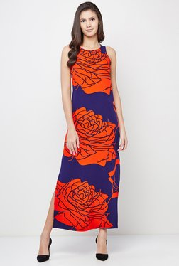 AND Blue & Orange Floral Print Dress