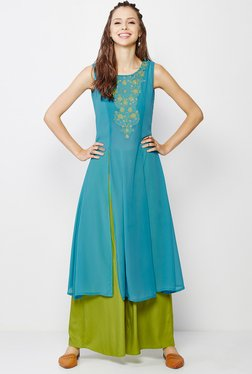 Global Desi Blue & Green Embroidered Kurta And Palazzo Set