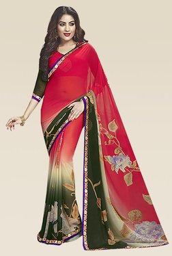 Ishin Green & Red Printed Saree