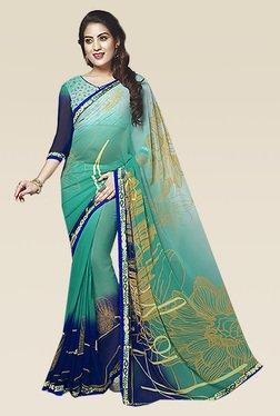 Ishin Blue Ethnic Printed Saree