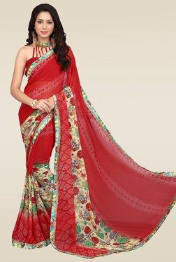 Ishin Red Printed Saree