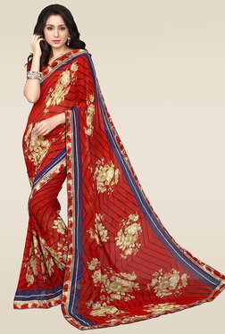 Ishin Red Printed Saree With Blouse