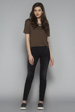Nuon By Westside Brown Solid Top