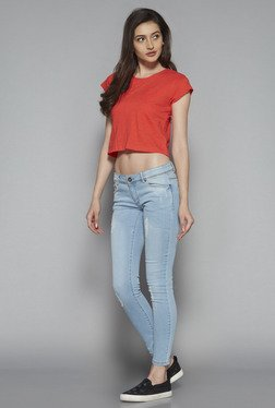 Nuon by Westside Coral Solid Crop Top