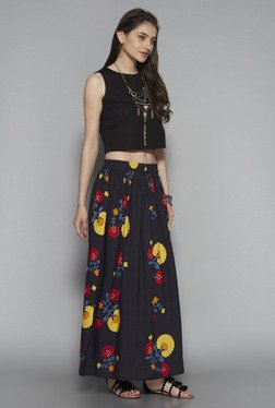 Bombay Paisley By Westside Black Floral Print Maxi Skirt