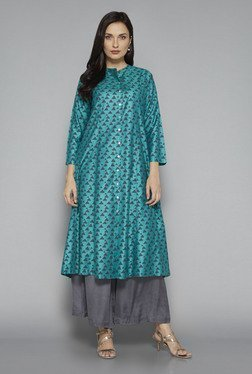 Zuba by Westside Teal Geometric Print Kurta