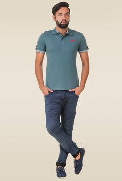 Spunk Sea Green Solid Regular Fit T-shirt