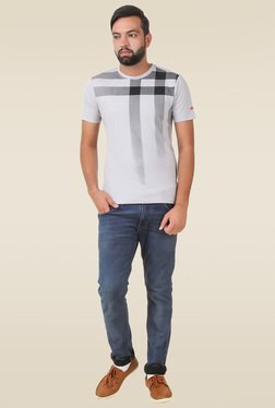 Spunk Light Grey Printed Cotton T-shirt