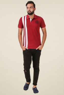 Spunk Maroon Printed Regular Fit T-shirt