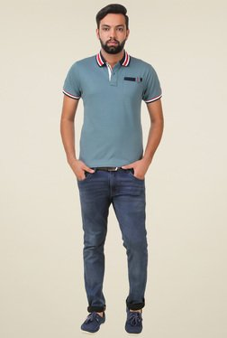 Spunk Sea Green Solid Cotton T-shirt