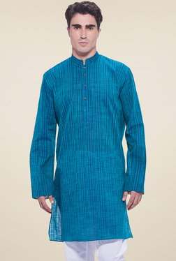 Manyavar Blue Cotton Mandarin Collar Kurta
