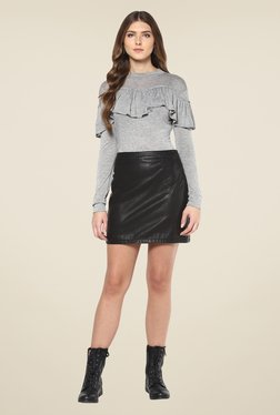 Femella Grey Textured Front Ruffle Top