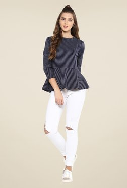 Femella Navy Striped Quilted Peplum Top