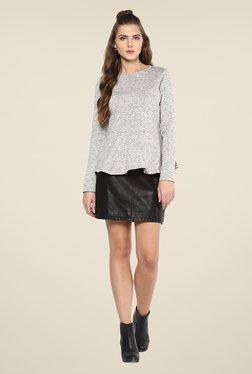 Femella Grey Textured Knit Peplum Top