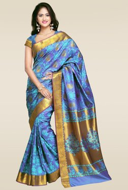 Janasya Blue Foil Print Art Silk Saree