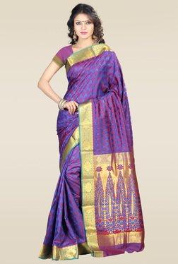Janasya Violet Kanjivaram Art Silk Saree