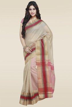 Janasya Beige Art Silk Saree