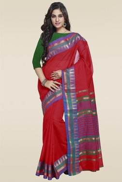 Janasya Red Foil Print Art Silk Saree