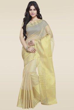 Janasya Beige Art Silk Handloom Saree