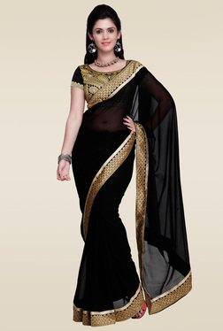 Janasya Black Lace Border Saree