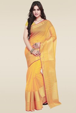 Janasya Orange Art Silk Saree