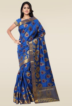 Janasya Royal Blue Kanchipuram Art Silk Saree