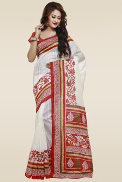Janasya Red & Off-White Printed Bhagalpuri Silk Saree