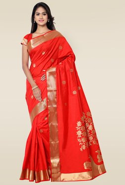 Janasya Red Foil Printed Art Silk Saree