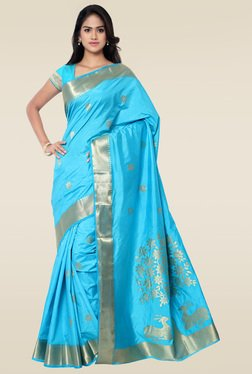 Janasya Sky Blue Kanchipuram Art Silk Saree