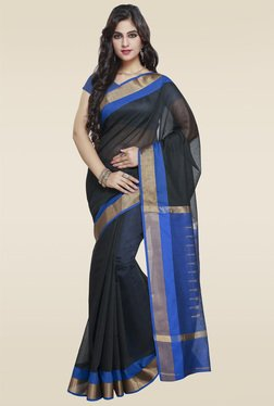 Janasya Black Cotton Saree With Blouse